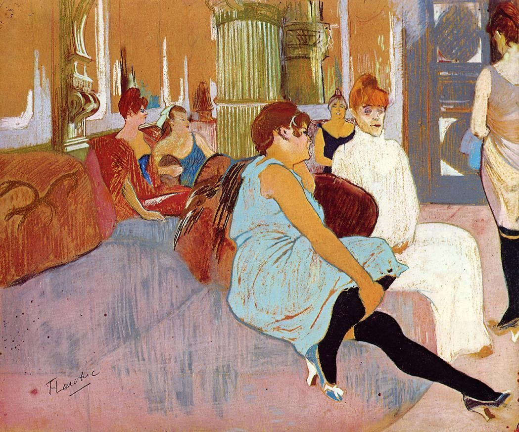 The Salon in the Rue des Moulins, 1894, Henri de Toulouse Lautrec